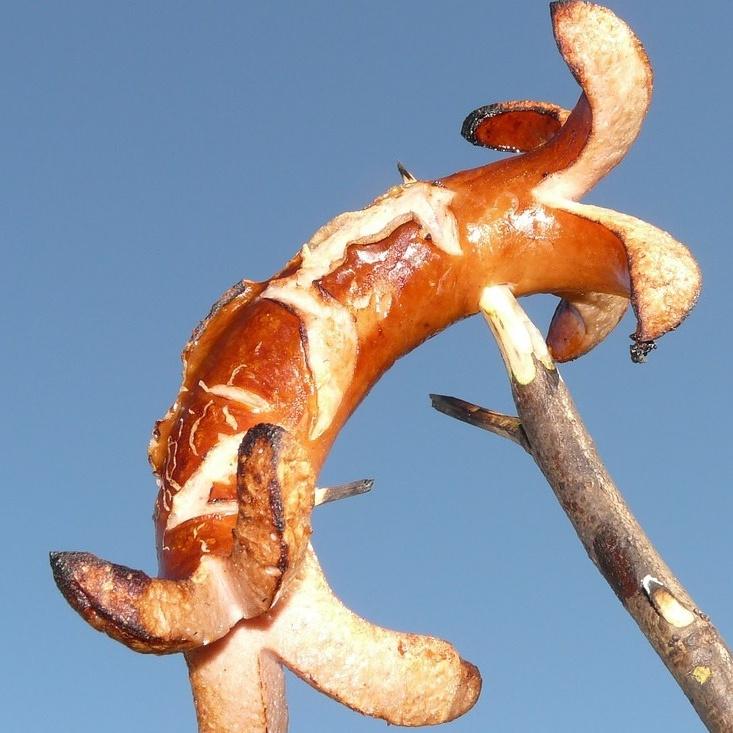 Bratwurst am Spieß