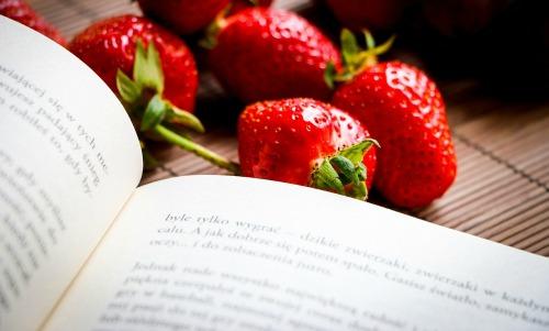 Aufgeschlagenes Buch und Erdbeeren